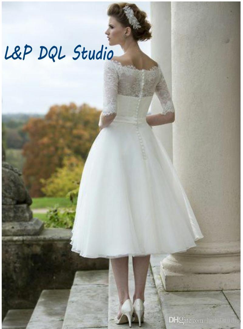 Rendas de Marfim do vintage Organza vestido de Baile Vestidos de Casamento Colher Metade Mangas Botões Voltar Tea-Comprimento Vestidos de Noiva Custom Made