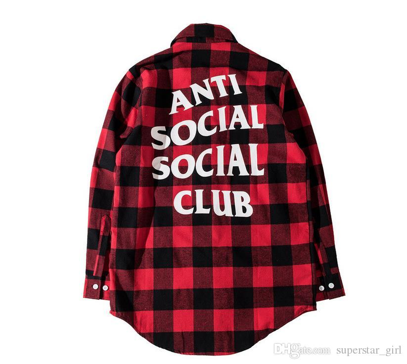 2017 New Anti Social Social Club Plaid Shirt Men Women Long Sleeve ...