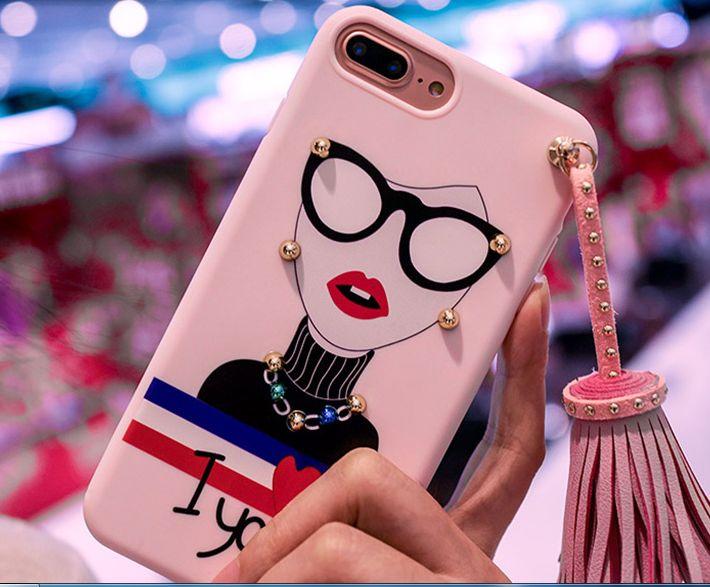 Koreanische Art-Niet-Troddel-Anhänger-TPU für iPhone 7 7plus 6 6s 6Plus weiche TPU zurück Fall Funda Mode Sonnenbrillen Mädchen-Anstrich