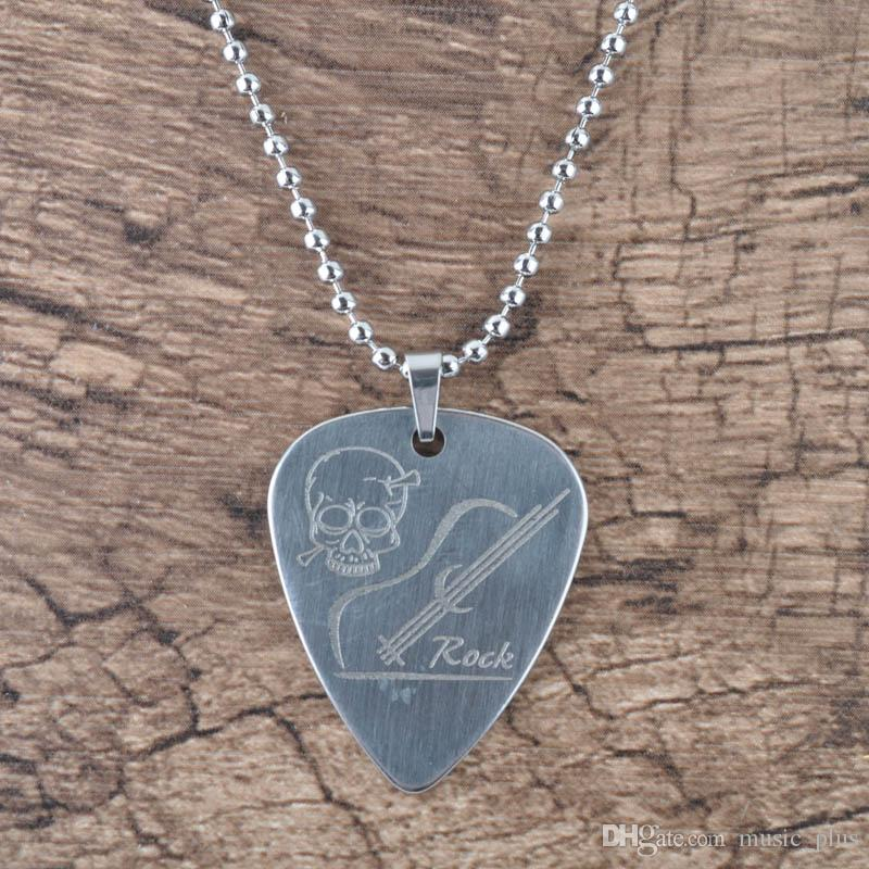 Pick pendant necklace chain metal for electric guitar bass silver pick pendant necklace chain metal for electric guitar bass silver pick pendant necklace guitar pick neckalce metal chain necklace online with 629piece on aloadofball Image collections