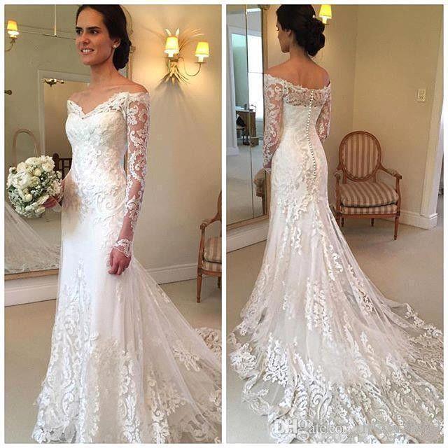 2017 Vintage Lace Mermaid Wedding Dresses Sheer Long Sleeves Off The ...