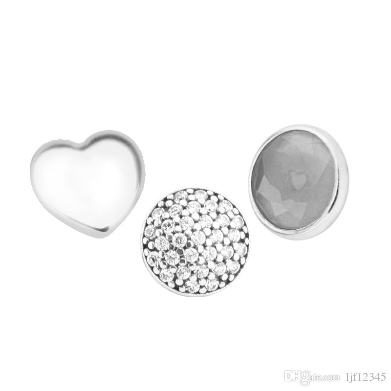 June Petites Grey Moonstone & Clear CZ Charm for Locket necklace Charms Fits Pandora Bracelet sterling silver jewelry making charms