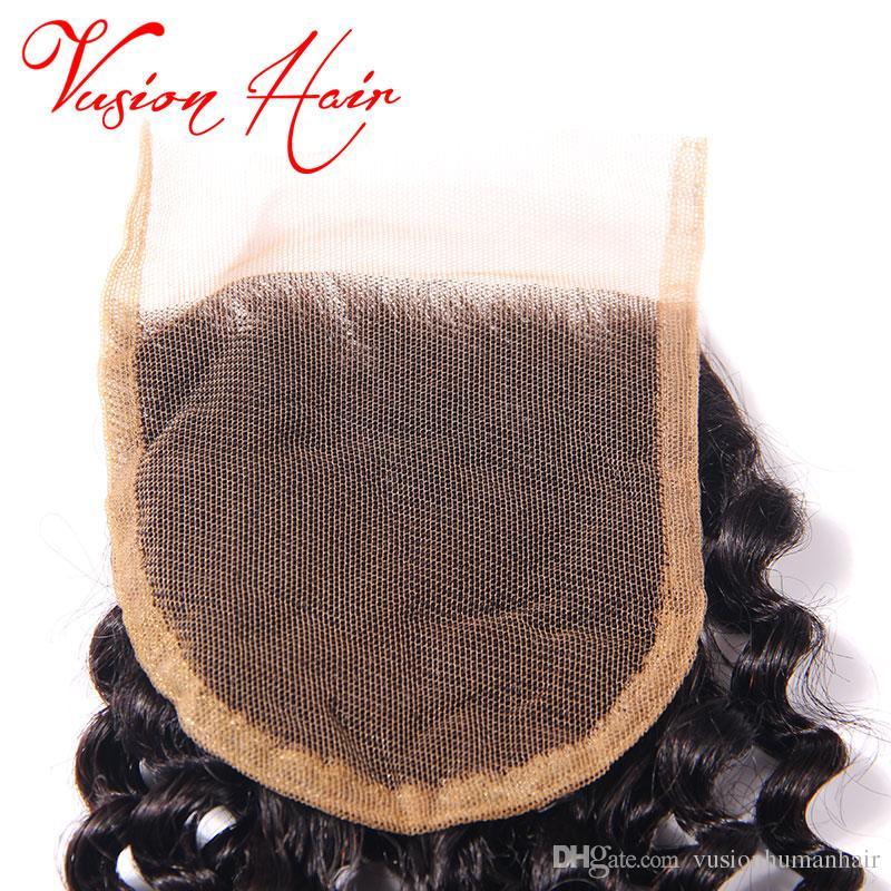 البرازيلي موجة عميقة مجعد الشعر 3 حزم وإغلاق 10-26 بوصة شعر الإنسان حزم المنك البرازيلي نسج الشعر مع إغلاق الأسود الطبيعي