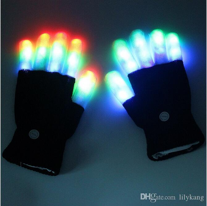 7 Modes colorful changing flashing Led glove for KTV Party Finger Flashing Glow Flashing Fingertip Halloween Light LED Gloves Magic Gloves