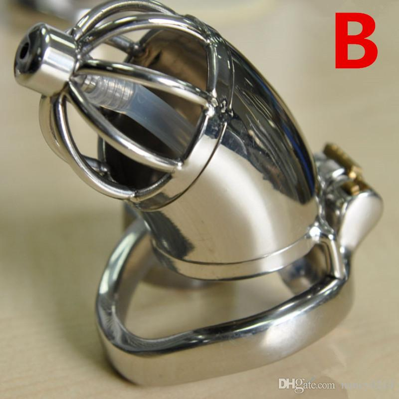 Chastity Cage New Design Adult Chastity Cage Stainless Steel Male Chastity Devices with Urethral Catheter Anti Off Ring for Men G7-1-196