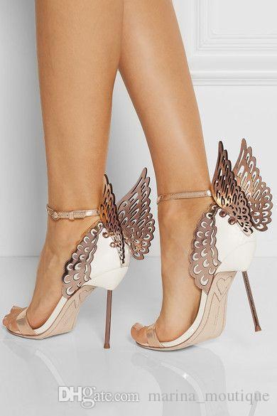 2017 Sophia Webster Evangeline Melek Kanat Sandal Artı Boyutu 42 Hakiki deri Düğün Pompaları Pembe Glitter Ayakkabı Kadın Kelebek Sandalet Ayakkabı