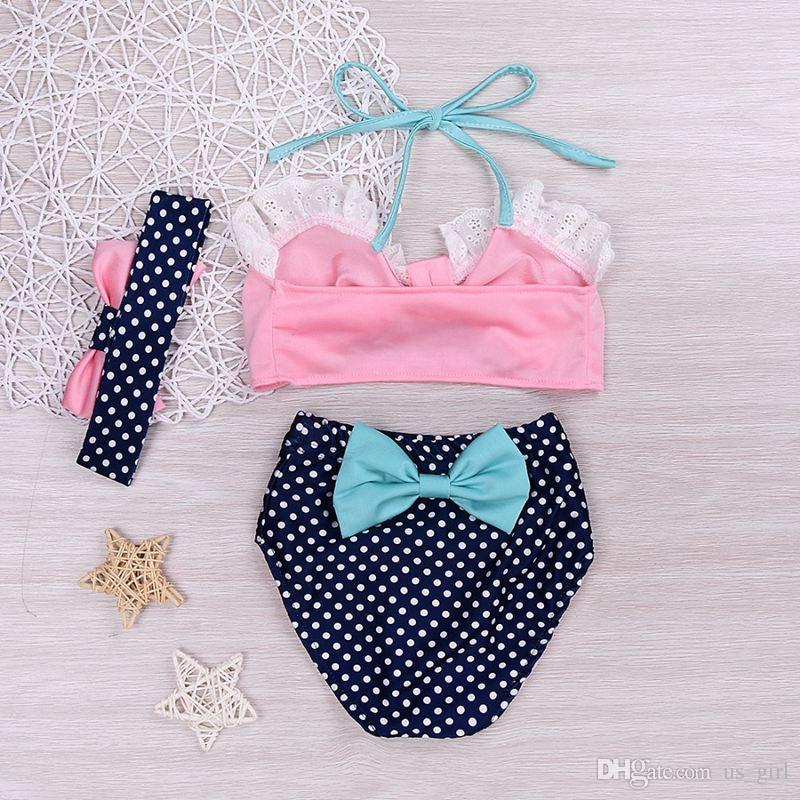 ins summer style Baby Girls Swimwear Kids Big Bow tops Dress Swimsuit Cute Skirt Swim suit Lovely kid's Bathing Suits