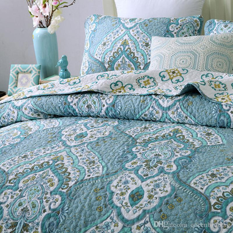 Embroidery Cotton Quilting Quilts Pastoral BLUE and white Bedding Europe Bedspread BedCover King size patchwork Quilts