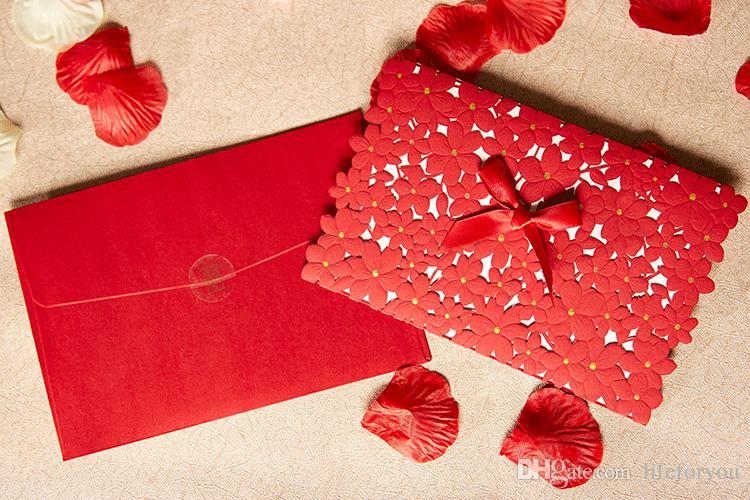 Hochzeitseinladungen Karten Laser geschnitten Hochzeitseinladungen Großhandel Hochzeitsbevorzugungen Parteibevorzugungen Partydekorationen mit Innenseite Umschlag