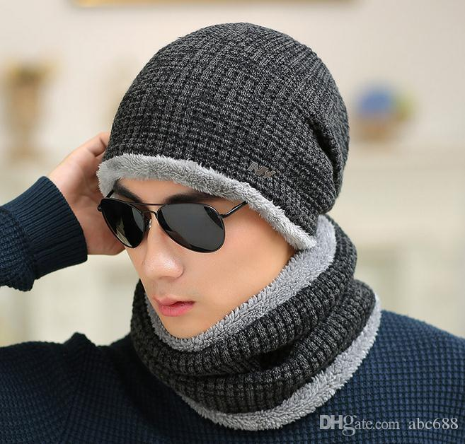 Ski Set Male Winter Sheep Knitted Hat Winter Hat Beanies For Men Women Cap  Cold Thermal Muffler Scarf New Year Father Gfit UK 2019 From Abc688 cce29d8b017
