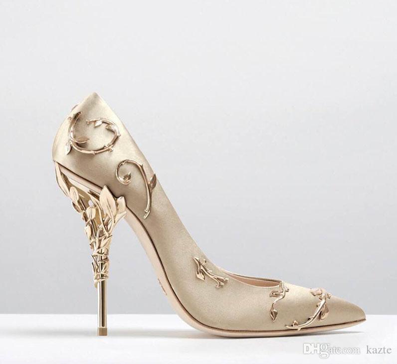 2018 Ralph Russo mariée en satin de mariée chaussures a talon haut chaussures eden pompes a talons hauts avec chaussures feuilles pour soirée / bal / soirée