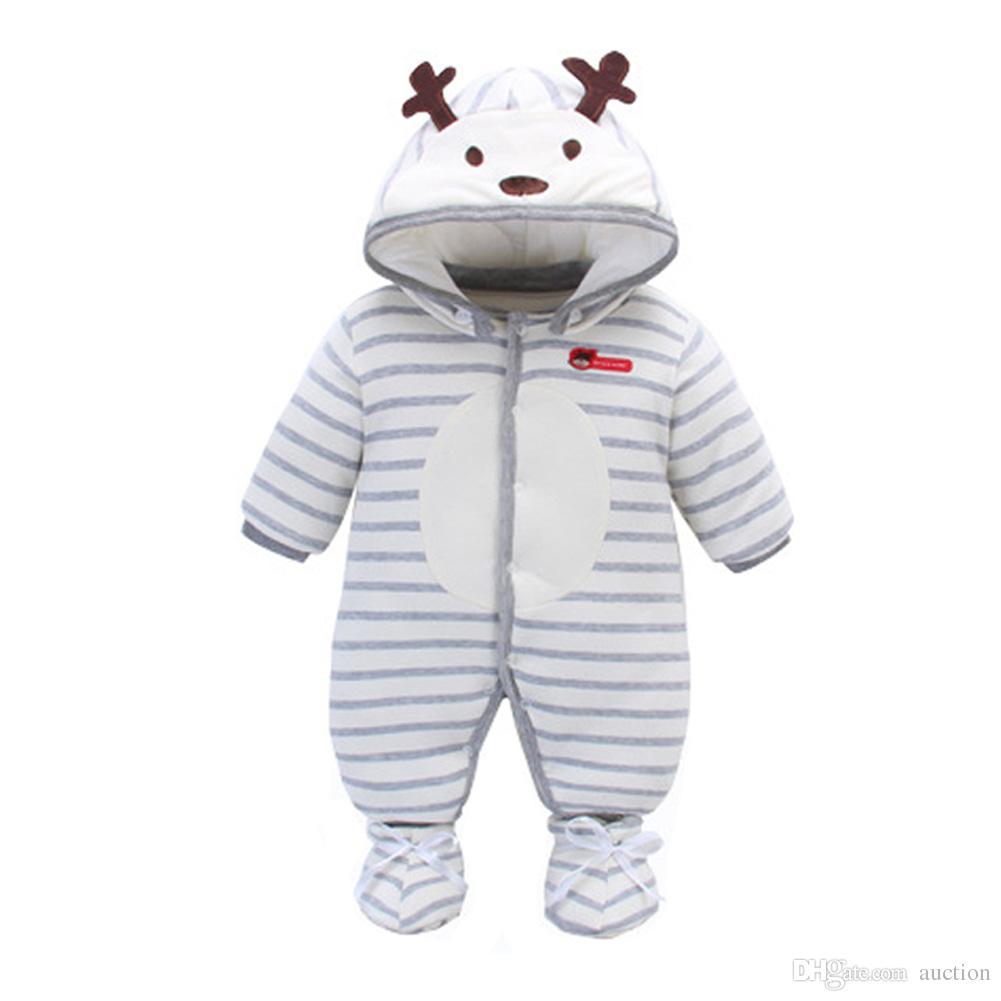 ffbc44846 Unisex Baby Boys Girls Winter Warm Hooded Jumpsuit Pure Cotton ...