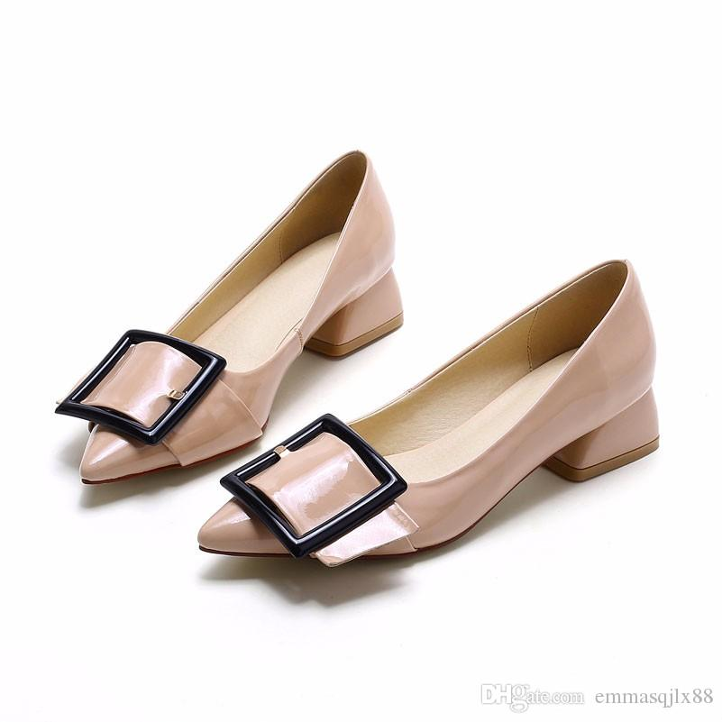 New Arrival Women Low Heels Shoes Pointed Toe Buckle Pumps Office ...