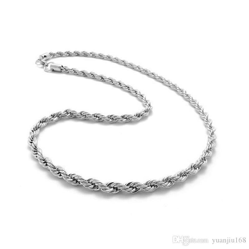 Top Quality 925 Sterling Silver Uomo Donna Twist ROPE Catena Collane 2 MM 16 inch / 18 inch / 20 inch / 22 inch / 24 inch