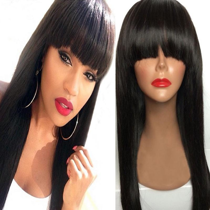 Straight Peruvian Virgin Human Hair Front Lace Wigs With Bangs Natural Hairline Glueless Full Lace Wigs For Black Women 6-24 inch
