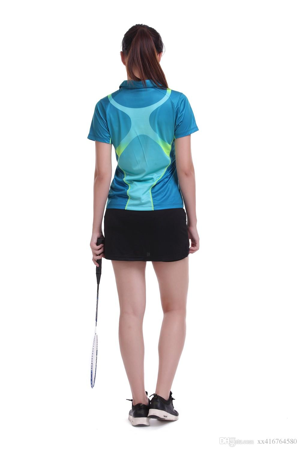 Sportswear sweat Quick Dry breathable badminton shirt ,Women/Men table tennis Ping pong clothes team game training POLO T Shirts