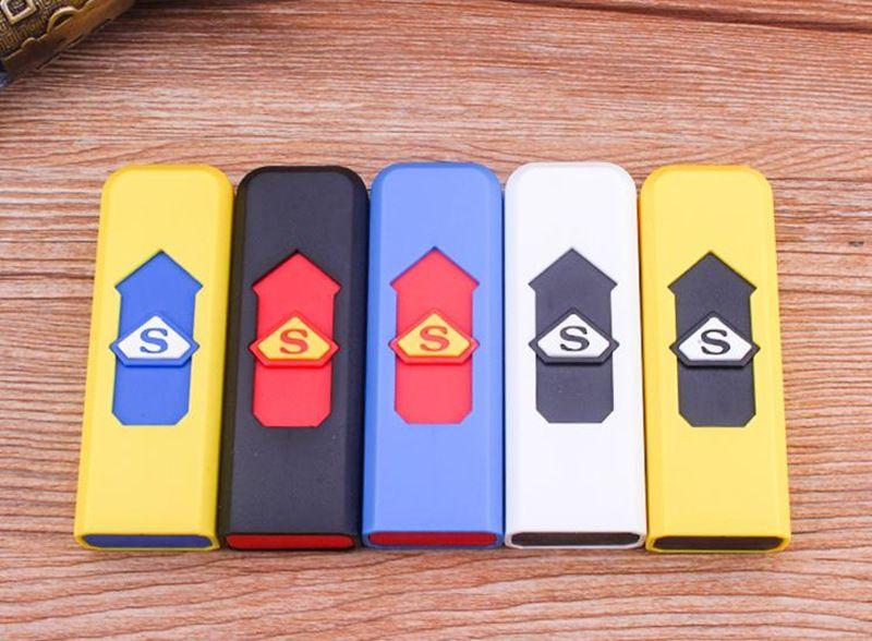 Зажигалки USB аккумуляторная батарея электронные сигареты зажигалка ветрозащитный беспламенного нет газового топлива ABS огнестойкий пластик