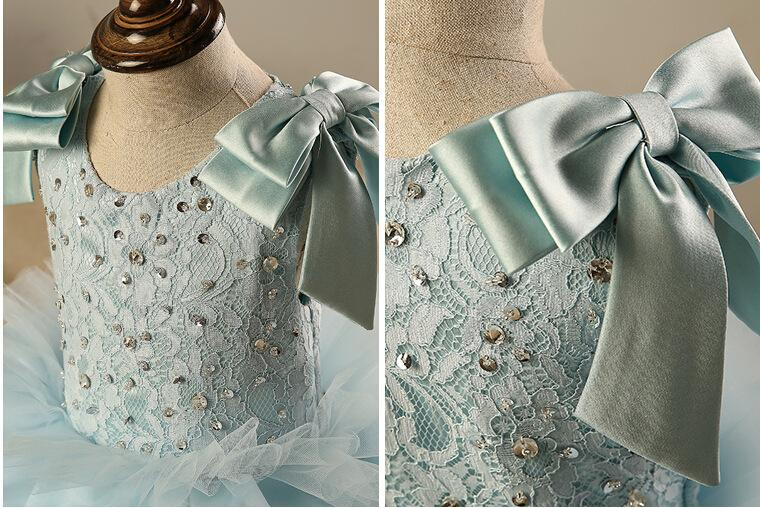 Flower Girls' Dress Blush Lace Floor-Length Sleeveless Bow Ball Gown Beads Sequin Little Girl Birthday Party Dresses Evening Dress KD002