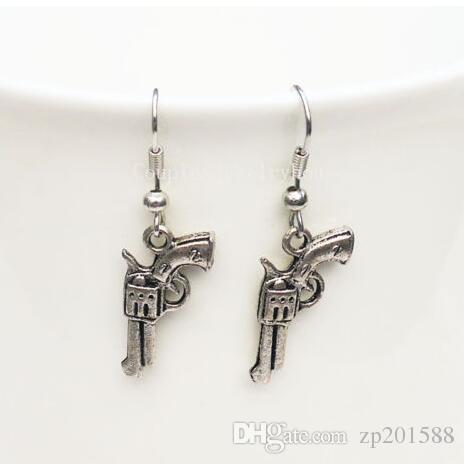 مختلط نمط مسدس بندقية مسدس رصاصة قطرة / تتدلى الأقراط 925 الفضة الأسماك الأذن هوك التبتية الفضة الثريا القرط المجوهرات هدية