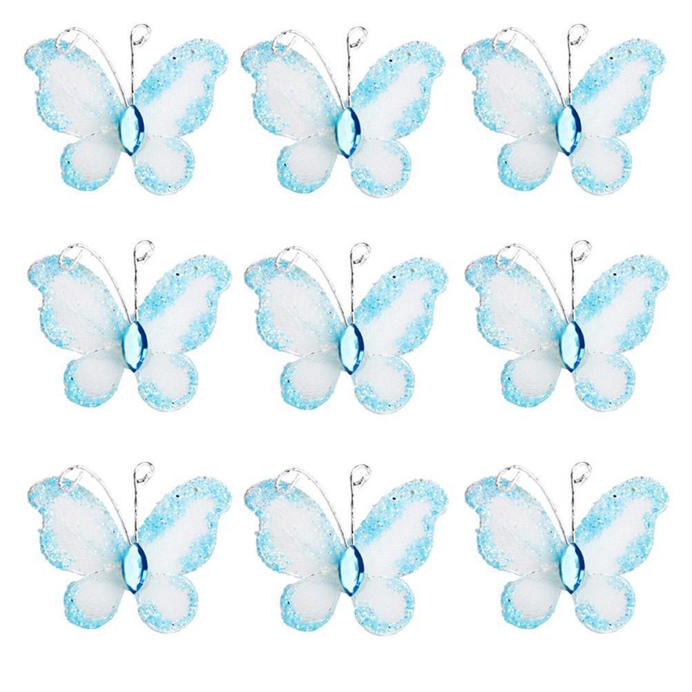 Blue Wired Mesh Calza glitter farfalle con farfalle a maglia con gemme