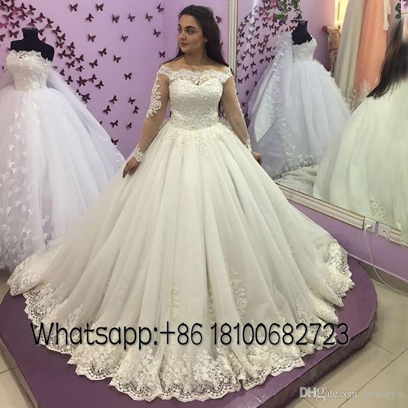 2018 Victorian Princess Wedding Dresses Long Sleeve Sheer Off Shoulder Ball Gown Vintage Lace Appliques Tulle Modest Plus Size Bridal Gowns