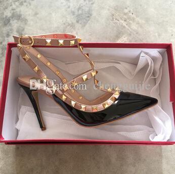 Новые горячие продажи femme zapatos mujer Валентина 2 ремни обувь женщины заклепки насосы высокие каблуки женская обувь бесплатная доставка