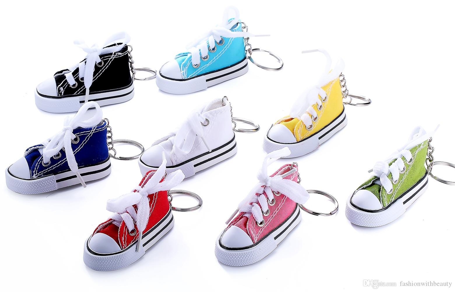 wholesale 8 colors 3D Novelty Canvas Sneaker Tennis Shoe Keychain Key Chain Party Jewelry