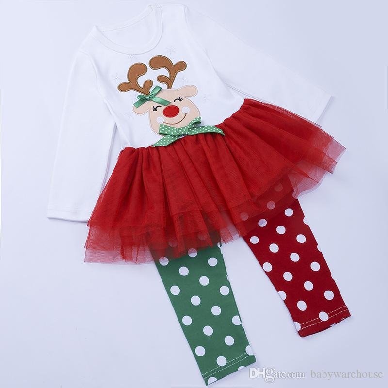 Baby Christmas Clothes Children Clothing Sets Girls Long Sleeve T-shirt Dress+Polka Dot Leggings Pants Two Piece Suits Xmas Outfits Kid