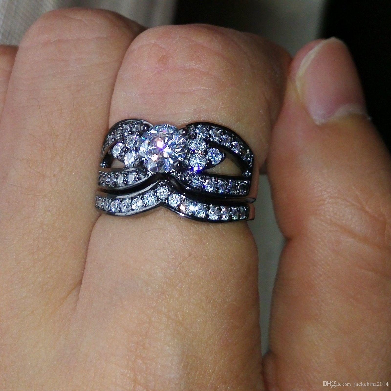 Taglia 5-11 gioielli di lusso all'ingrosso 10KT oro nero riempito topazio bianco taglio rocca diamante della cz pietre preziose weddiing coppia nuziale anello set