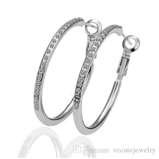 18K Rose Gold Silver Plated White Austrian Crystal Hoop Earrings for Women Dangle Circle Earrings Wedding Fashion Jewelry Wholesale Price