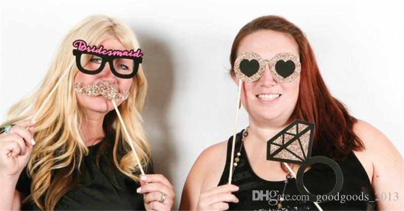 2017 newest Funny Photo Booth Props with lips moustache glasses Cute fashion for wedding party birthday Christmas Party Decorations b1126