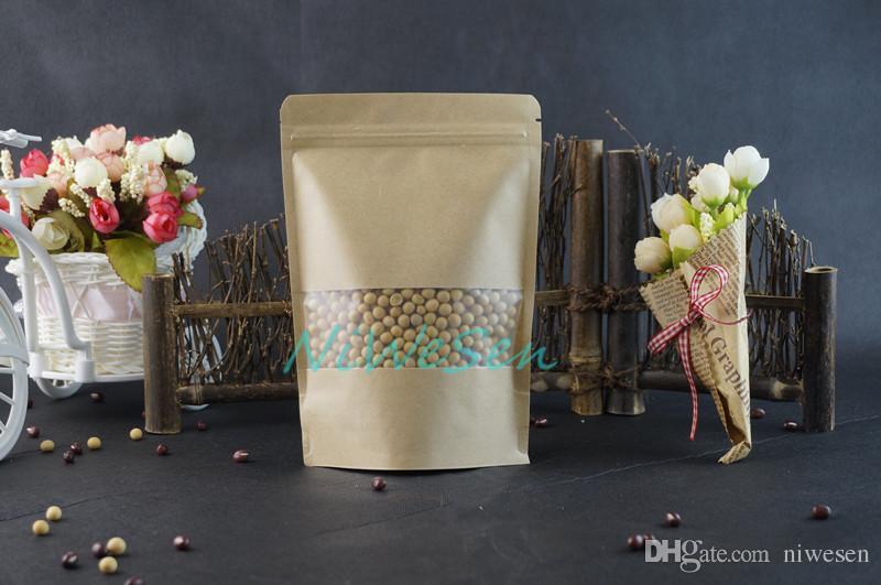 14x20 cm 100 adet / grup X Kahverengi Stand up Kraft kağıt ZipLock çanta mat ile Temizle pencere-geri dönüşümlü paket Lolipop / çikolata toz geçirmez kılıfı