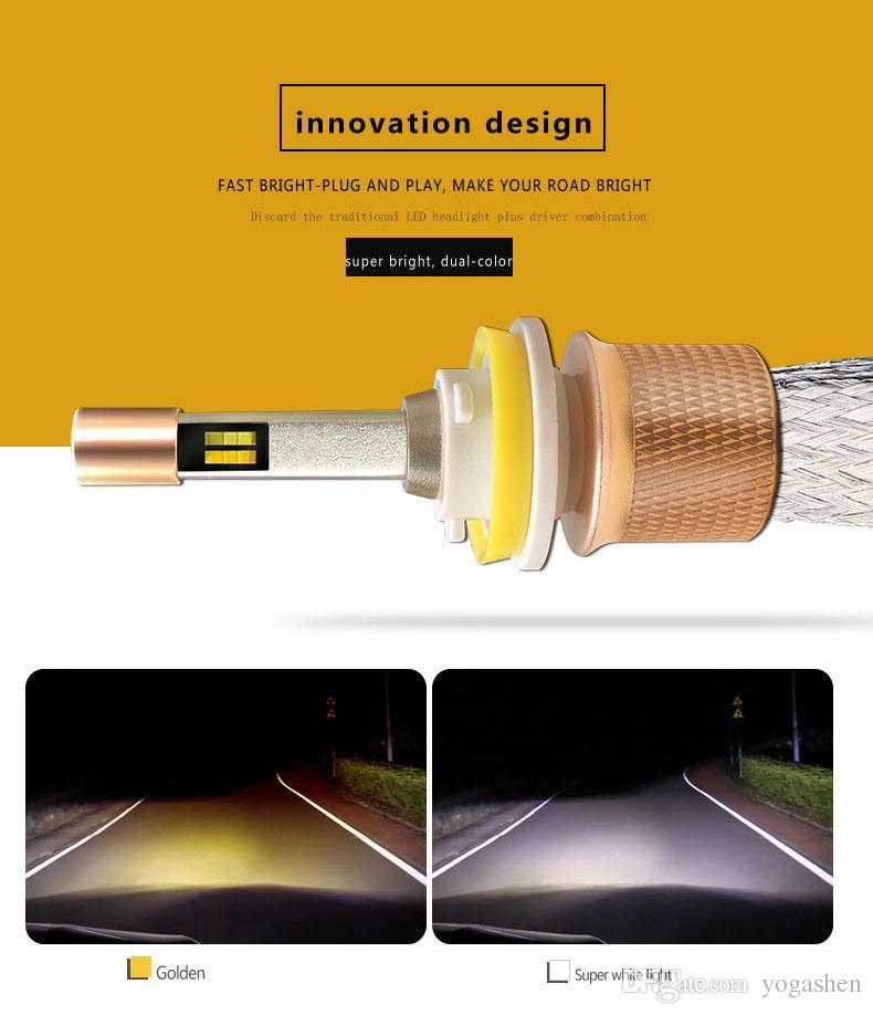 NEUE Doppelfarbe in einer externen Beleuchtung des Auto-LED 2X führte Scheinwerfer-Birnen H1 H11 H4 H7 9005 9006 LED helle Lampen 4800LM 40W 12-24V