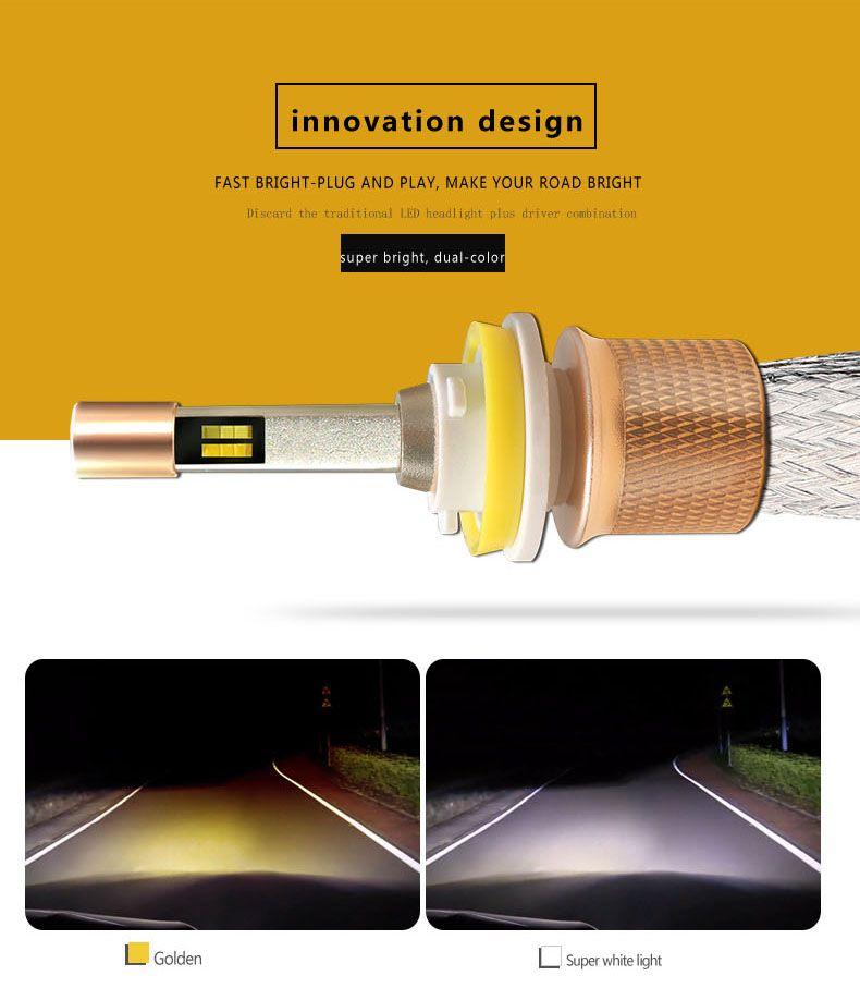 YENI Çift Renk bir 2X Araba LED Dış Işıklar led Far ampuller H1 H11 H4 H7 9005 9006 led Işık Lambaları 4800LM 40 W 12-24 V