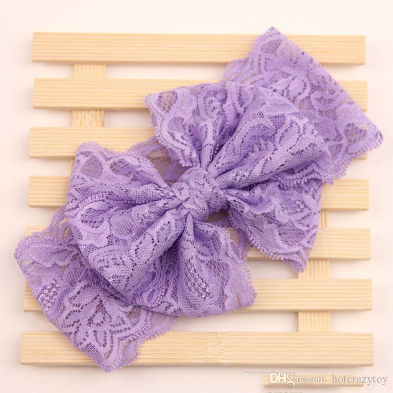 Baby Big Lace Bow Headbands Girls Cute Bow Hair Band Infant Lovely Headwrap Children Bowknot Elastic Accessories Sweetgirl