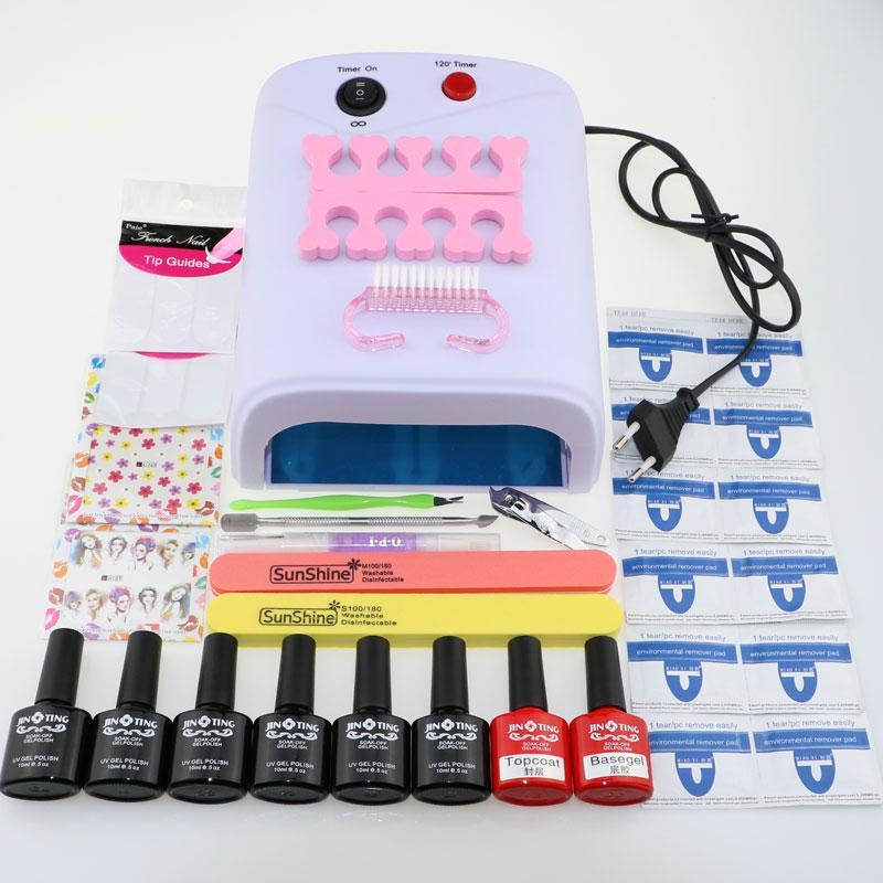 Wholesale Nail Art Tools Kit Set 36w Uv Lamp 10ml Soak Off Gel