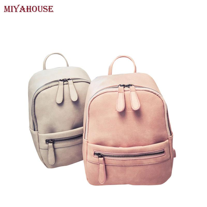 53a7a6561171 Wholesale Miyahouse Korea Style Women Backpack Fashion Candy Color Mini Backpacks  Ladies Casual PU Leather Backpack Female Small Backpacks Rucksack Jansport  ...