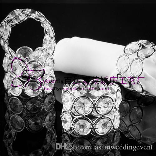 Anéis De Guardanapo De Prata Banhado Elegante Duplo Rodada De Cristal Guardanapo Titular Decoração De Casamento Anéis De Guardanapo