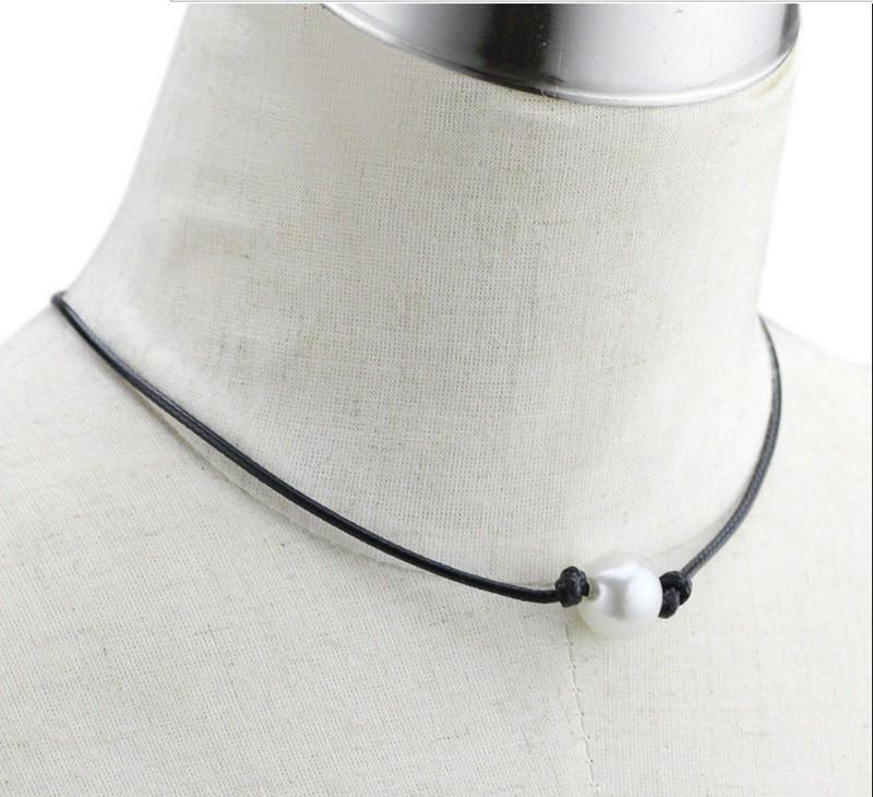 Новый один жемчуг кожа колье ожерелье на подлинной черный кожаный шнур для женщин мода имитация природных пресноводных Жемчужина
