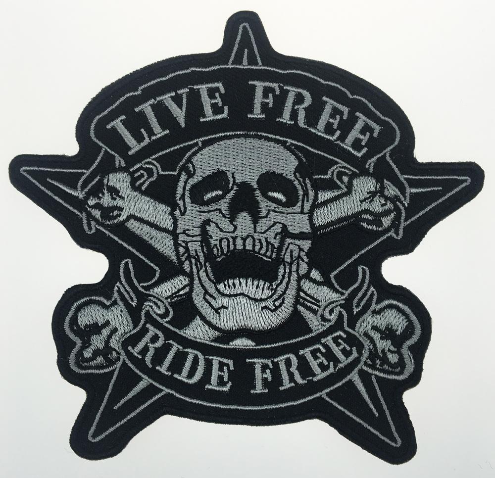 2017 Crânio Original LIVRE PASSEIO GRÁTIS Estrela Da Motocicleta Motociclista Vest Voltar Remendo Bordado Rider Do Punk Emblema G0378 Frete Grátis