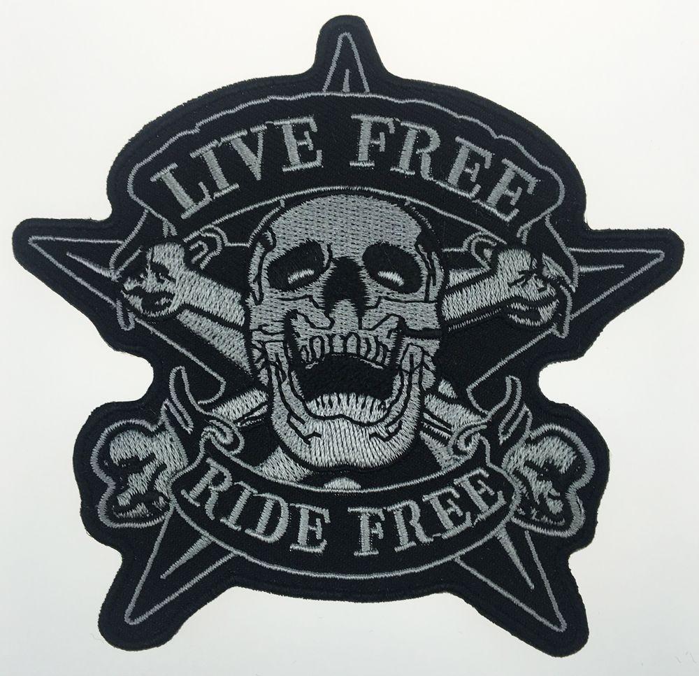 2017 Original Schädel LIVE FREE RIDE FREE Stern Motorrad Biker Weste Zurück Bestickt Patch Fahrer Punk Abzeichen G0378 Kostenloser Versand