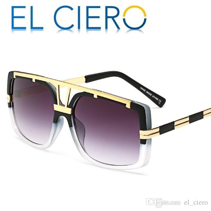 462aa2c78 Compre EL CIERO Alta Qualidade Óculos De Sol Quadrados De Metal Para  Mulheres Dos Homens 2019 Moderna Óculos De Sol Unisex Designer De Moda  Shades UV400 ...