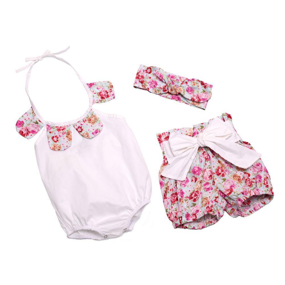 Baby-Mädchen-Spielanzug-Blumenblatt-Baumwollspielanzug + Bowknot-Kurzschlüsse + Häschen-Ohr-Stirnband-Kind stellten Kinder Sommeroveralls ein Säuglingsbodysuit C478 ein