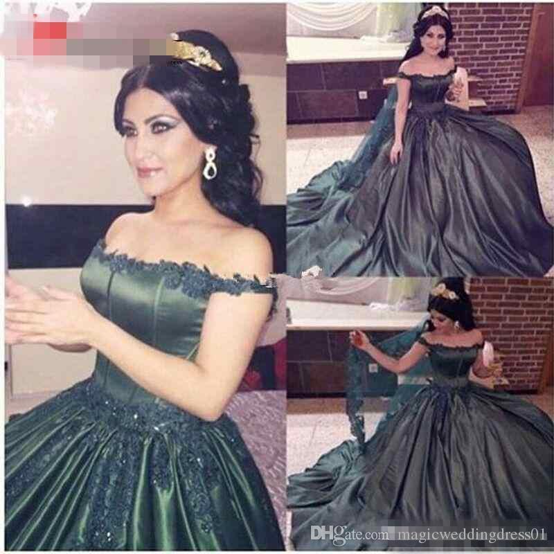 86c372facb16 2017 Off Shoulder Arabic Prom Dresses Lace Applique Forest Green Satin Plus  Size Vestidos De Novia Formal Evening Occasion Gowns Custom Made Short Prom  ...