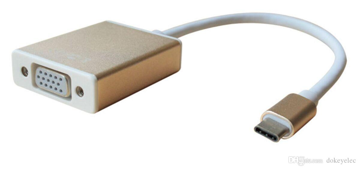 USB 3.0 Type C to VGA Adapter Converter Cable for Male to Female Connector 1080P HD for Macbook