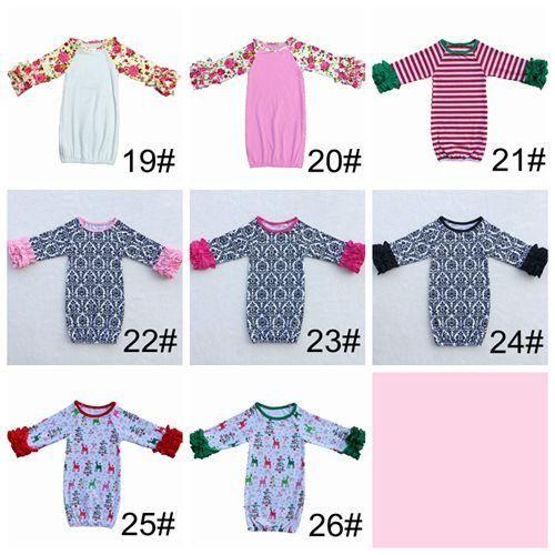 Höst vinter babyens första personliga julklänning syskon pyjamas pojke flicka ruffled nyfödd tjej ta hem outfit baby sova dusch gåva