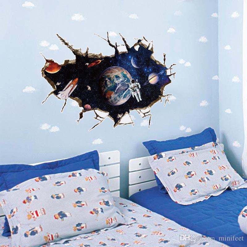 Cartoon 3D wall stickers astronaut children room sitting room adornment bedroom three-dimensional painting can be removed