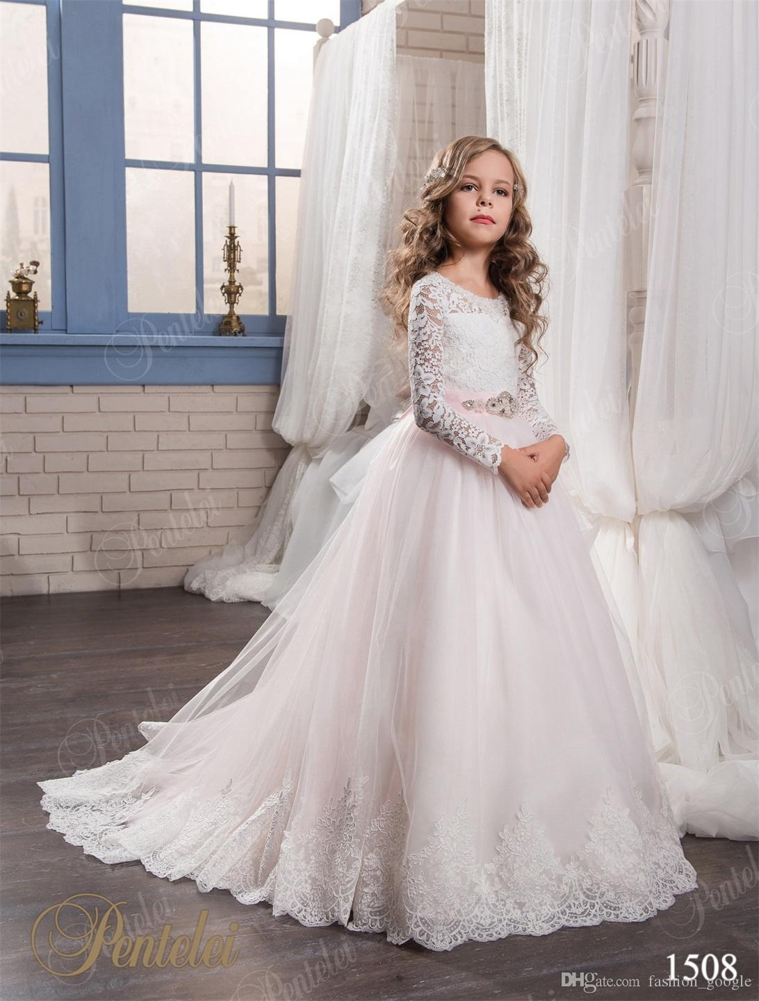 Kids wedding dresses 2017 long sleeves sweep train for Wedding dresses for child