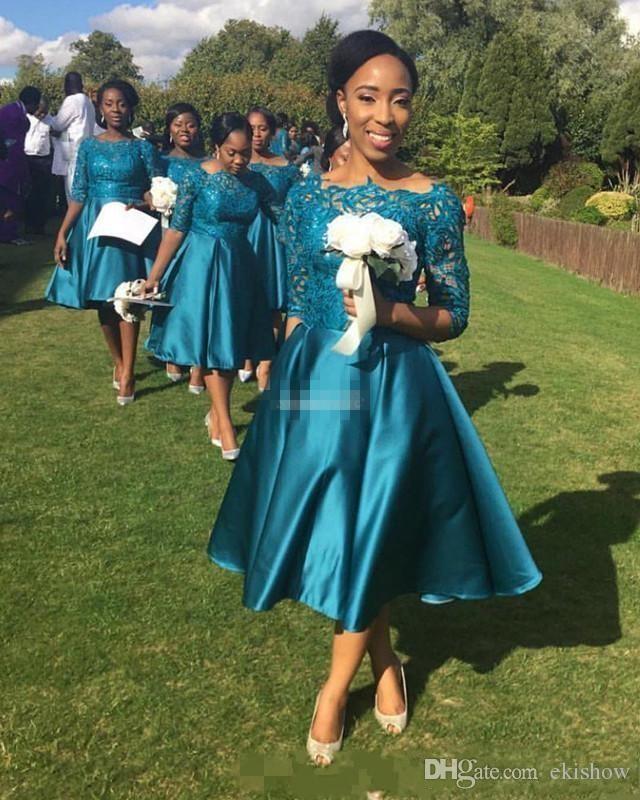 2017 Nova Barato Elegante Curto Da Dama de Honra Vestidos Para Casamentos Teal Cetim Rendas Meia Mangas Chá Comprimento Plus Size Vestidos Formais Feitos Sob Encomenda