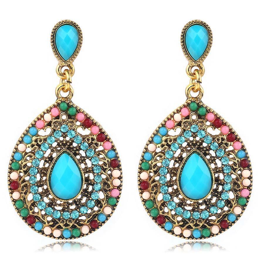 2018 Ravimour Bohemian Long Earrings For Women Vintage Gold Color ...